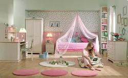 Kids canopy bed and kids room Interior in Pink Color