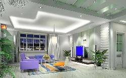Spacious Living room Ceiling, Lighting, LCD unit, Windows, Curtains, Furniture and Walls design