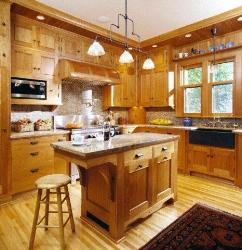 Wooden Kitchen Cabinets and Island