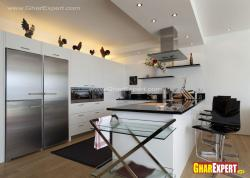 Modern L shaped kitchen with bar counter