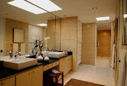 Look at the simple and Contemporary Bathroom Lighting and bathroom interior in wooden finish