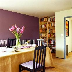Wine colored paint on the wall, Simple wooden bookcase, Dining Room Wooden Furniture