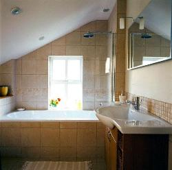 Sloped Ceiling over the bath tub in Bathroom, Wall tiles and floor tiles, Window design