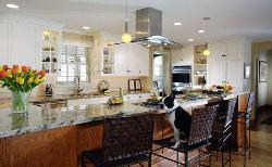 Large space kitchen interior in modern style