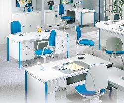 Office Furniture in White and Blue Theme