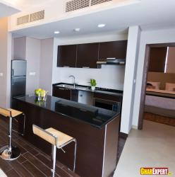 Small apartment kitchen in open style