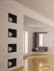 Wall coves for decorative items and fixed dressing table
