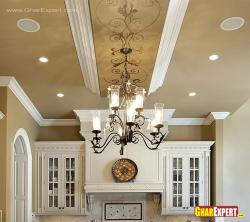 Chandelier and false ceiling design for kitchen