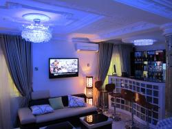 Bar in a living room P O P work  ceilling on Ceiling barstool and sofa design