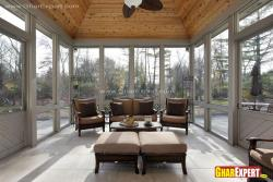 Modern porch with wooden ceiling design