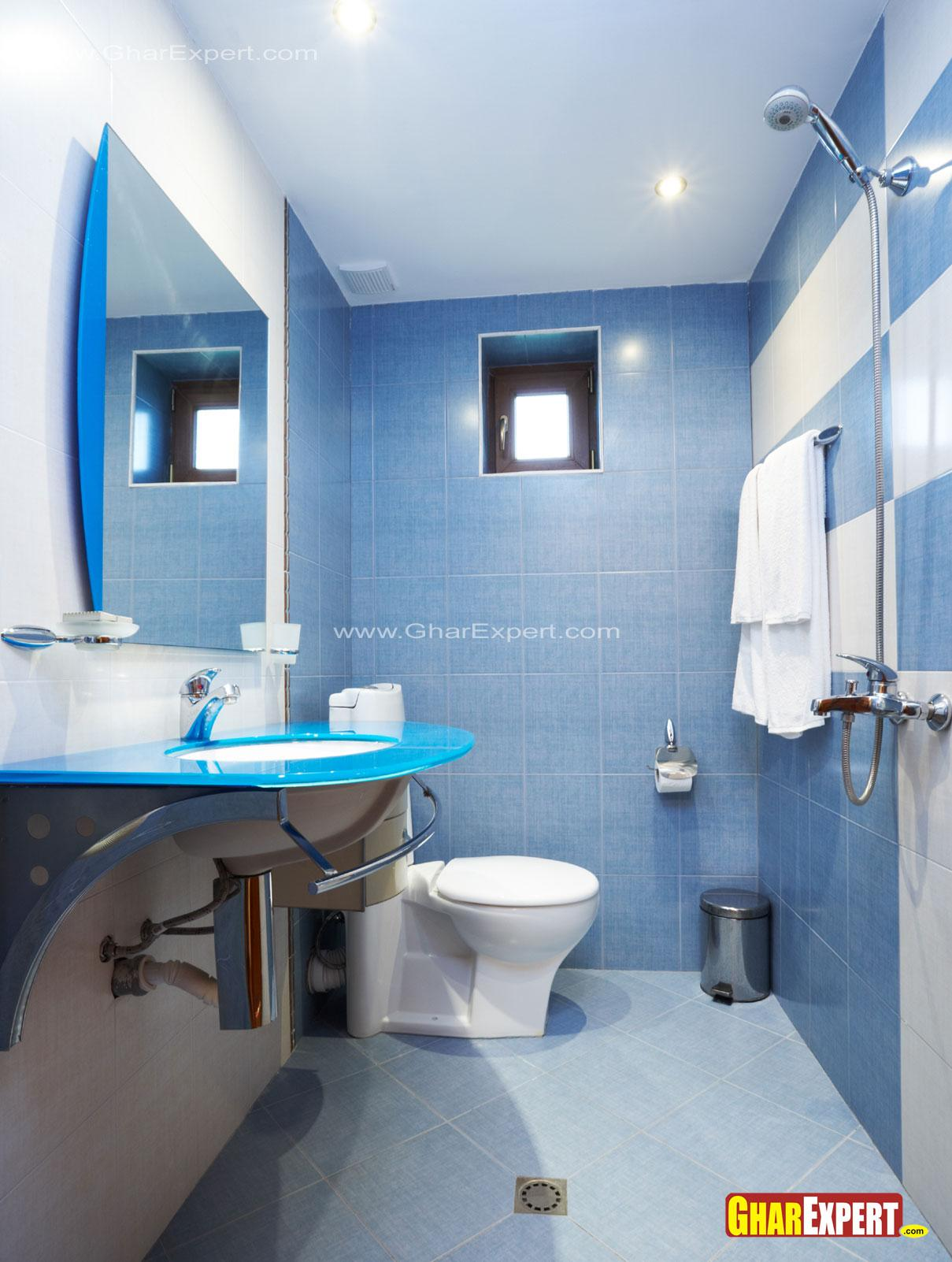 5 by 9 ft bathroom in blue col....