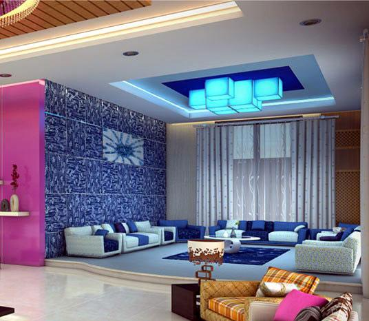 blue living room with suspende....