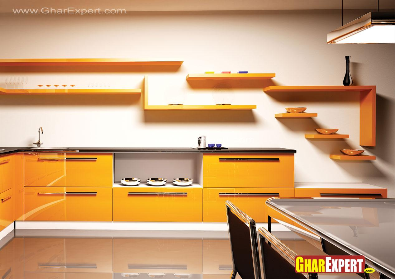 Kitchen shelves and cabinets i....