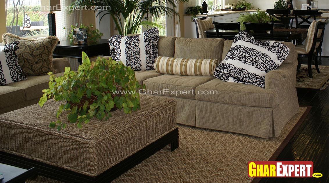 Upholstered sofa and jute top ....