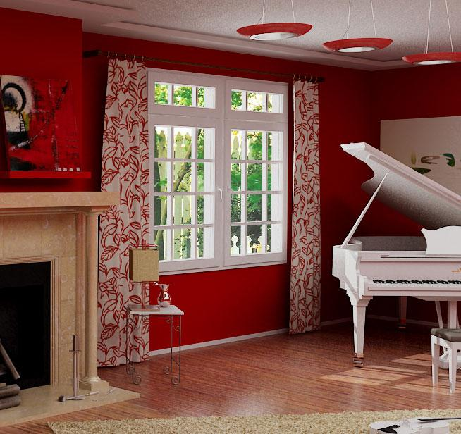 White and red colored curtain ....