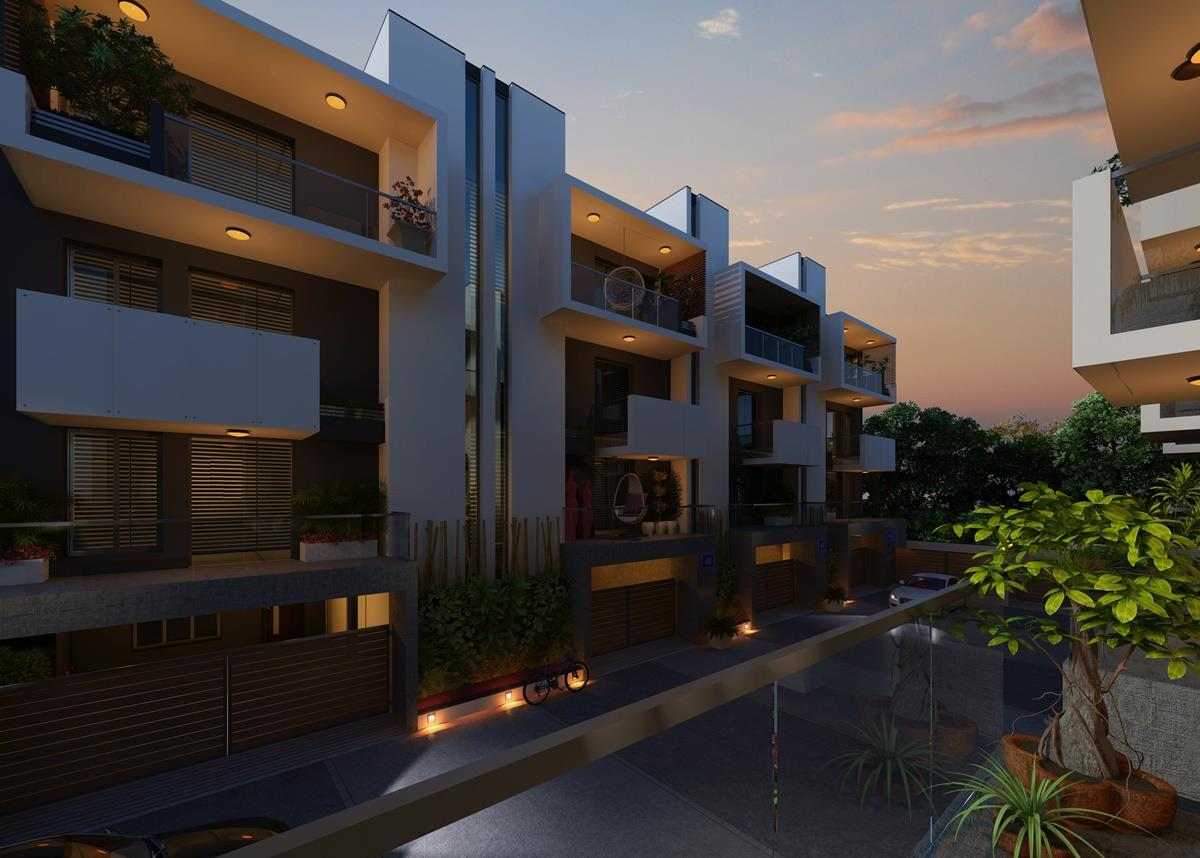 3d night view Residential Hous....