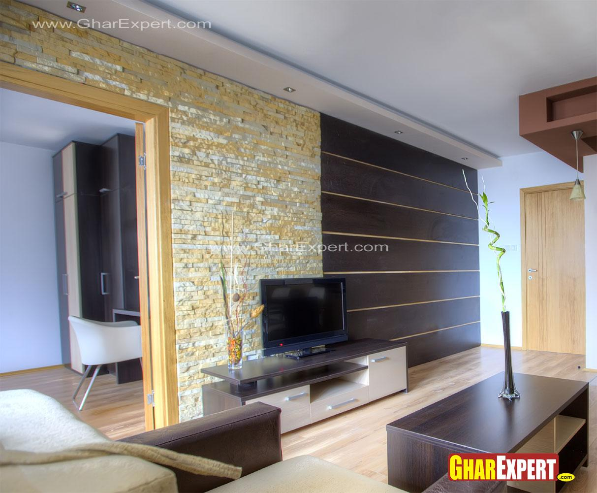 Lcd unit wall design in living....