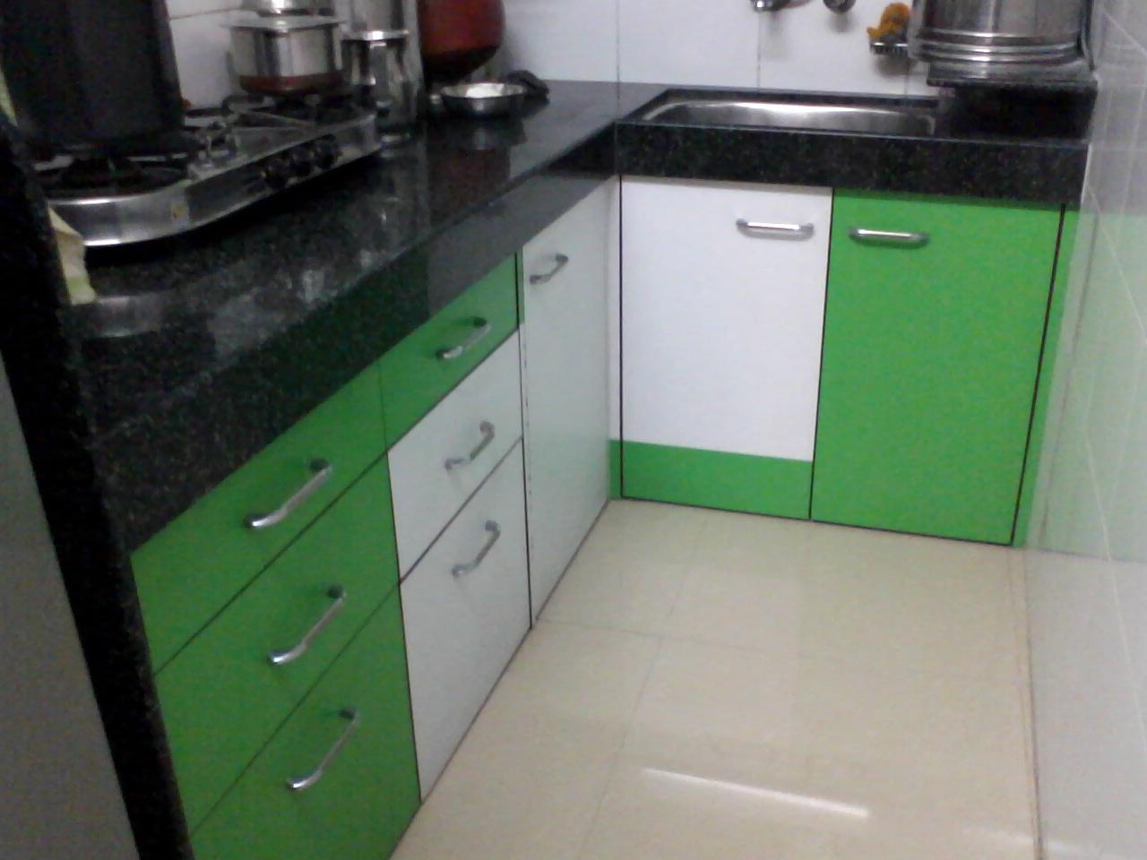 kitchen cabinet in green color