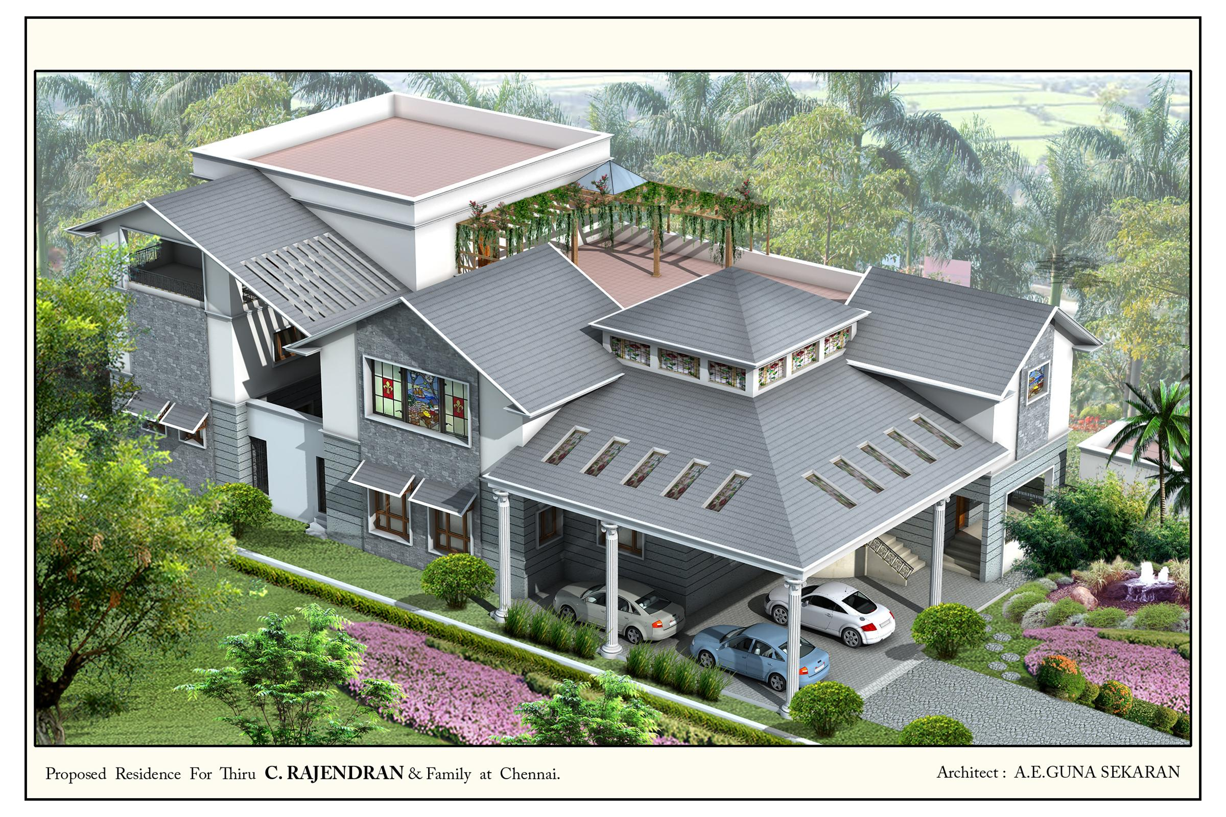 Top view of the residential ho....