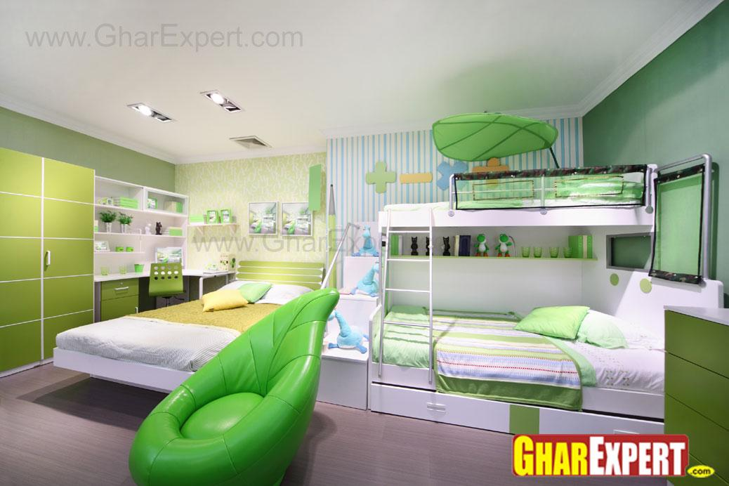 kids room in green theame