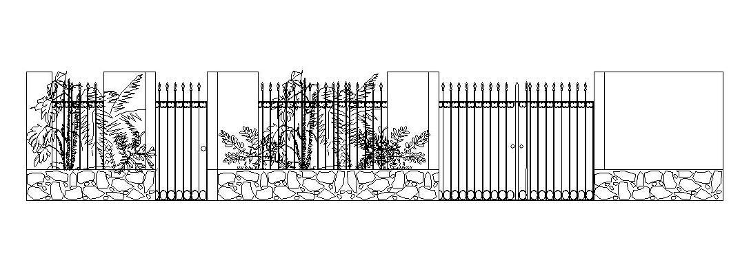 grill gate and wall elevation ....