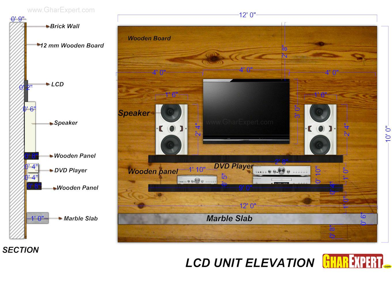 LCD Unit with Marble slab and ....