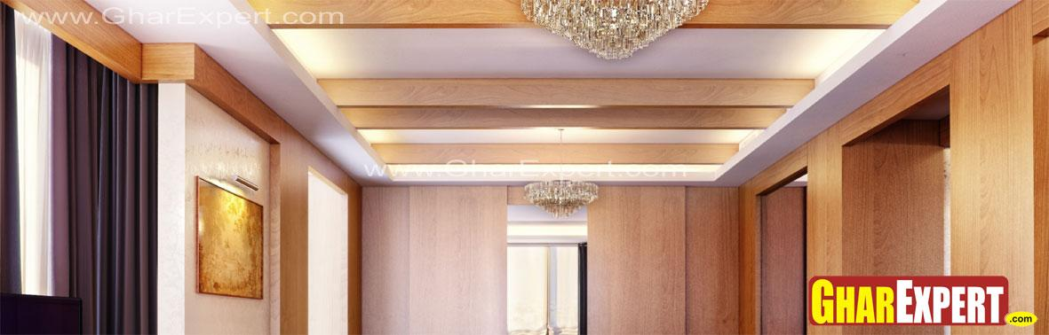Wooden beam ceiling with minim....