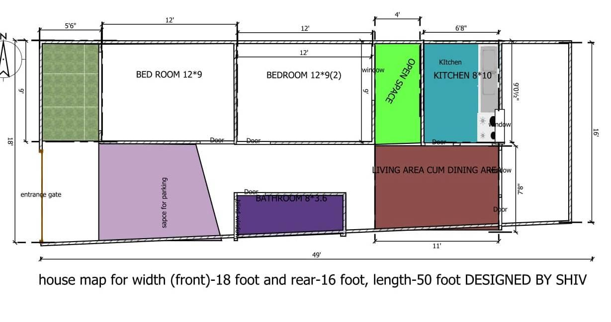HOUSE MAP FOR FRONT 18 FEET RE....
