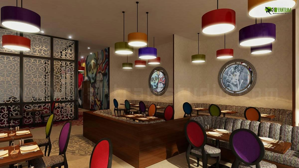 Night view of 3D Restaurant In....