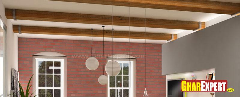 Ceiling Design with Wooden Bea....