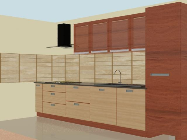 modular kitchen 3D concept wit....