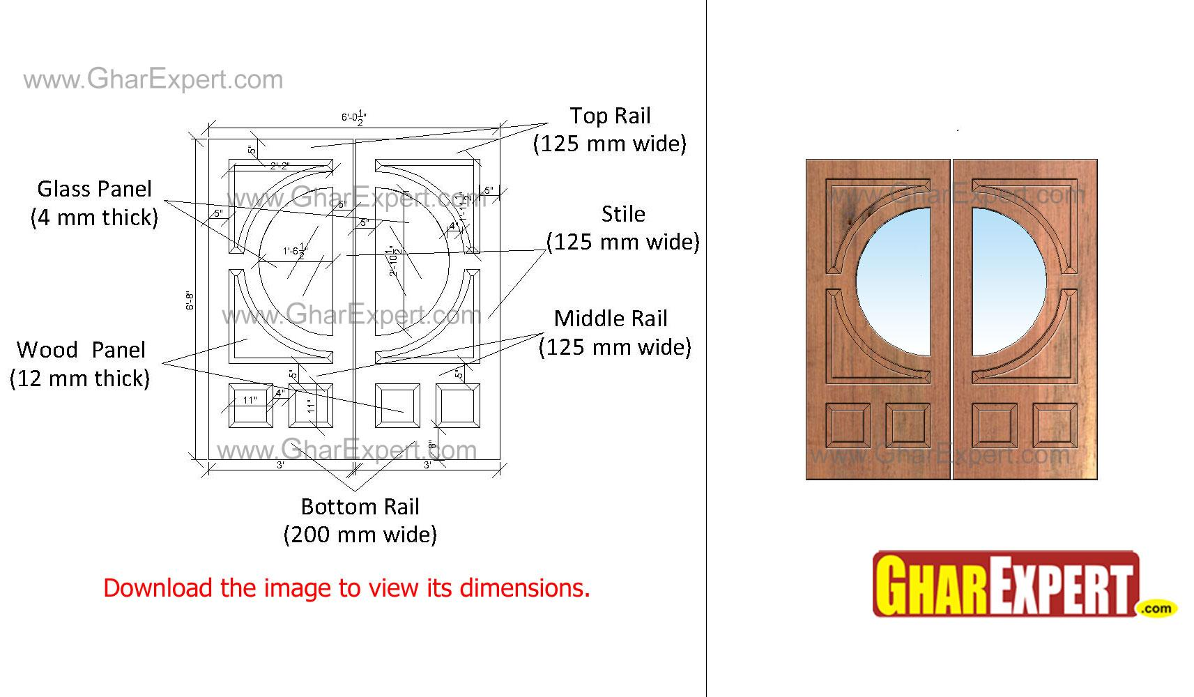Circular glass panel in wooden....