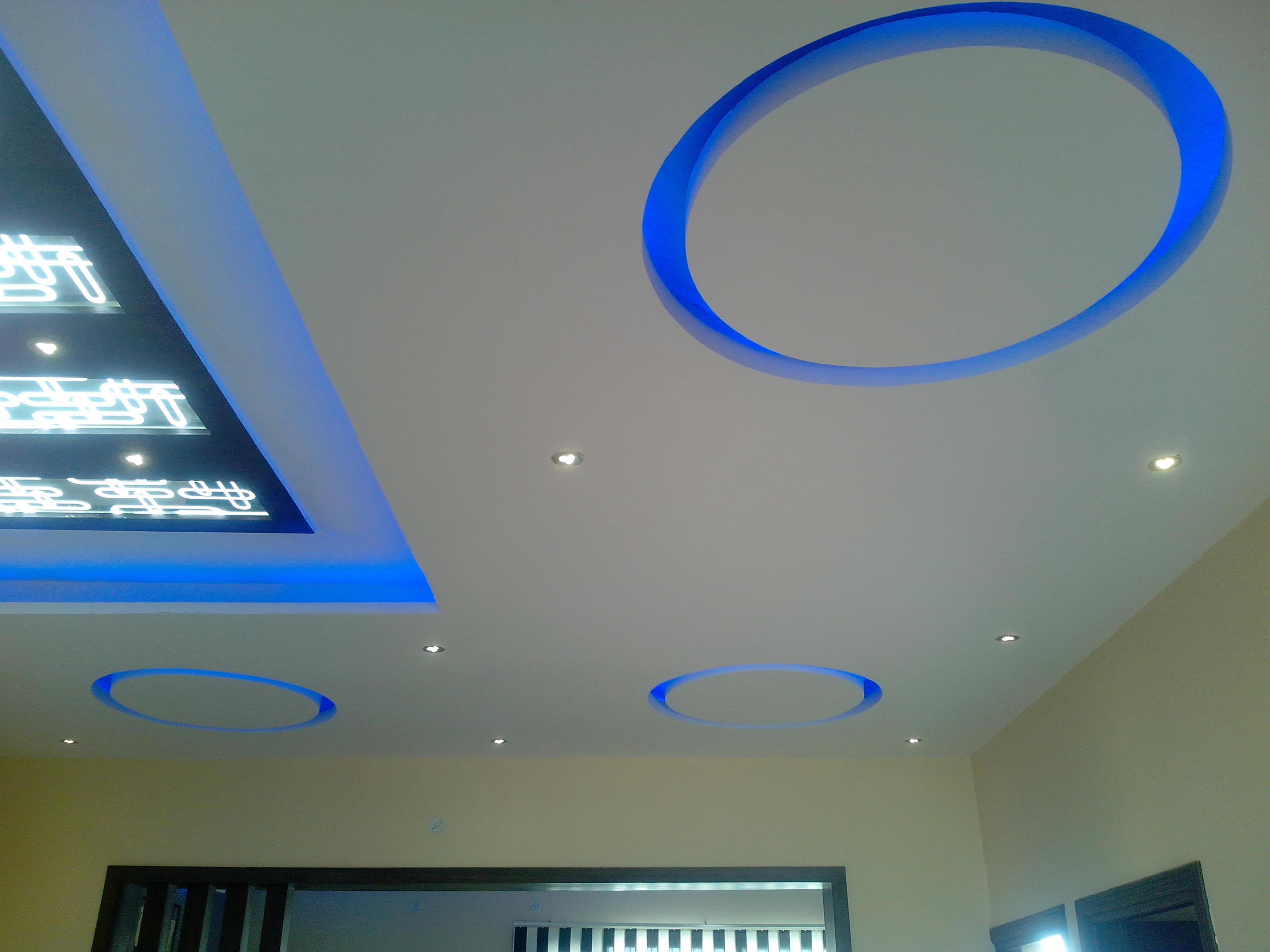 Ceiling with blue cove lights ....