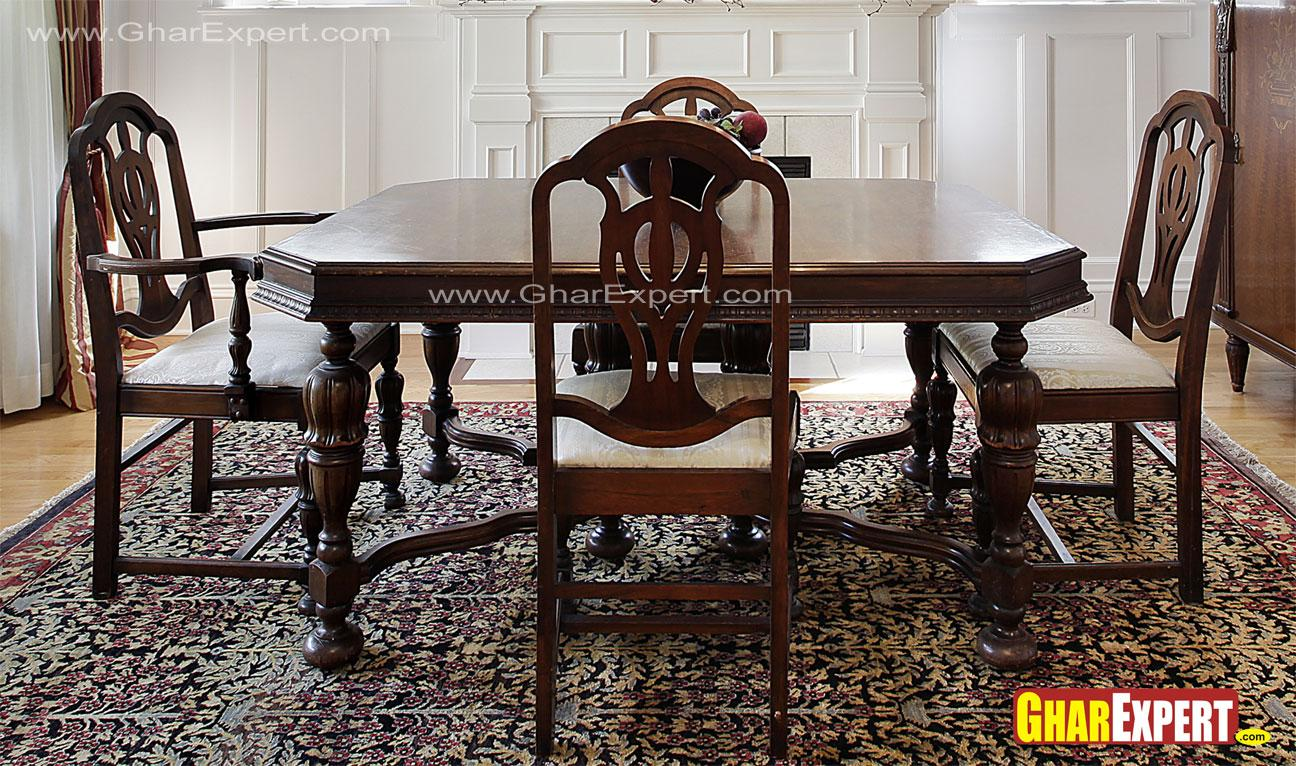 4 seater wooden dining with mi....