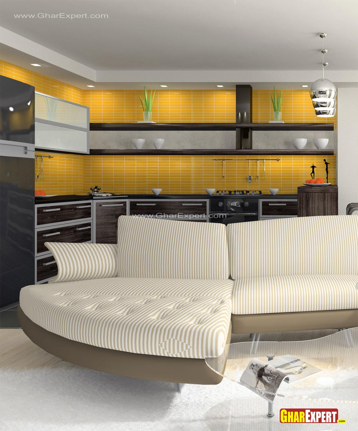 Open kitchen in bold colors fo....