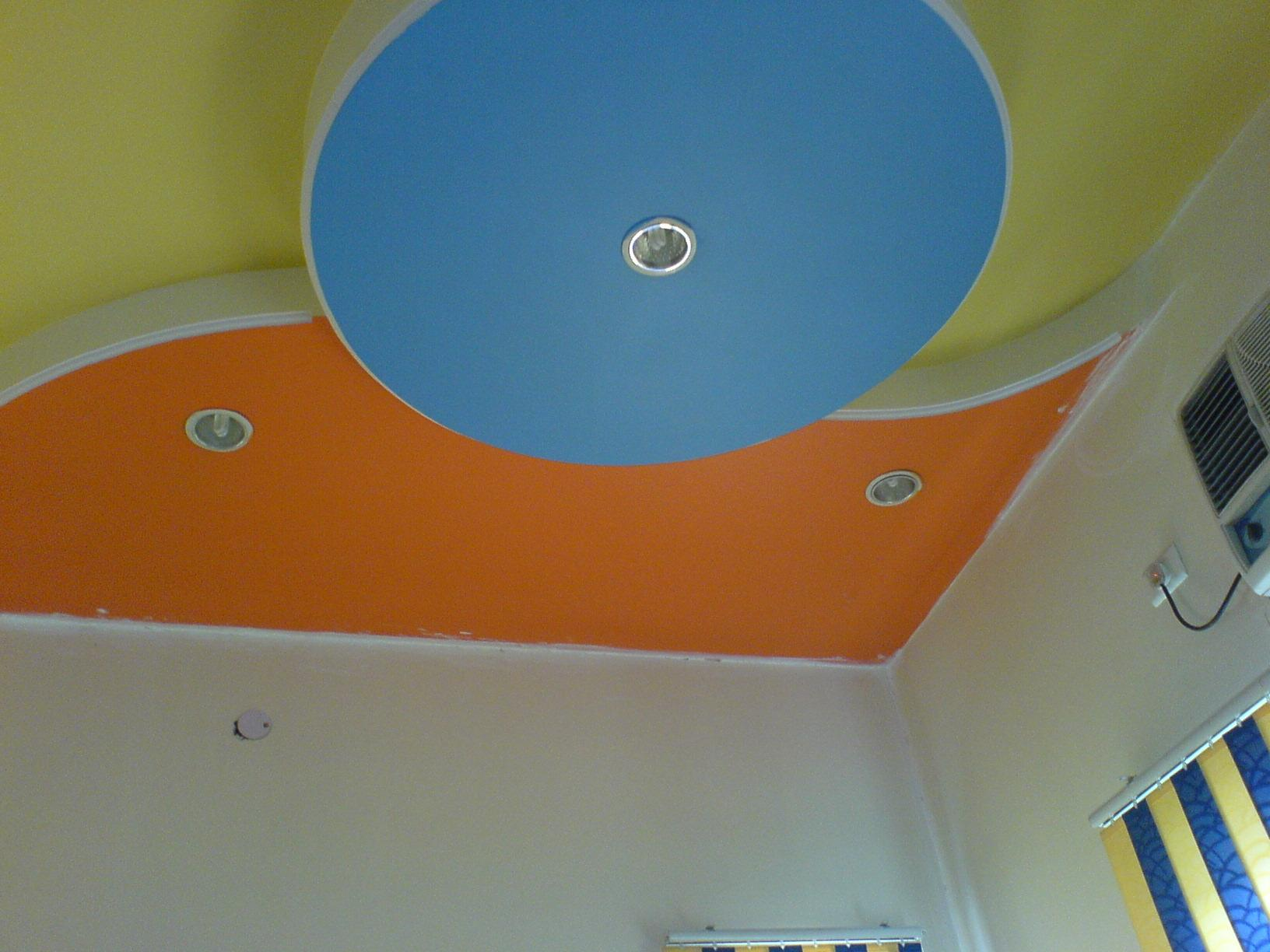 colored ceiling.